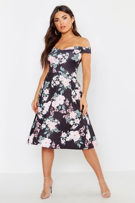 boohoo Off The Shoulder Midi Skater Dress
