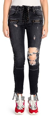 Unravel Project Lace-Up Distressed Skinny Jeans