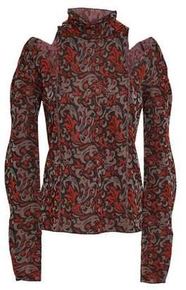 Chloé Cutout Metallic Jacquard-knit Turtleneck Sweater