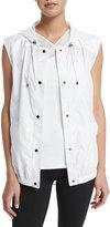Heroine Sport Drawstring Hooded Training Vest, White