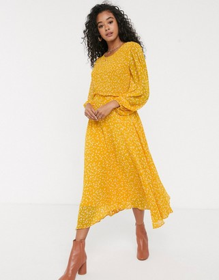 Ghost margot georgette midi dress with smocked bust