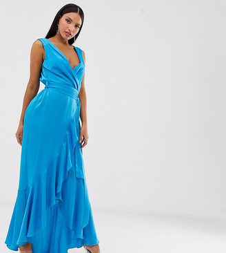 Flounce London Tall wrap front satin midaxi dress in aqua