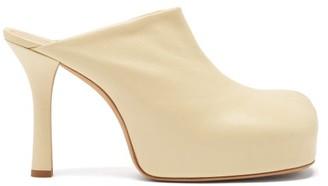 Bottega Veneta Bold Leather Platform Mules - Cream