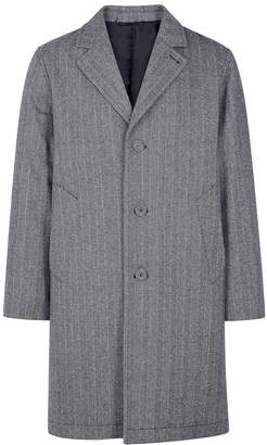 Officine Generale Arthur Grey Herringbone Wool-blend Coat