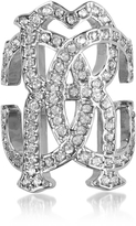 Roberto Cavalli RC Icon Silvertone Ring w/Crystals