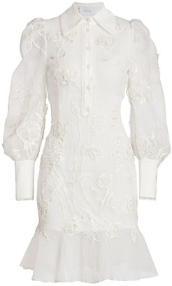 Marchesa Embroidered Puff-Sleeve Flutter Shirtdress
