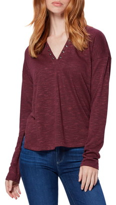 Paige Ashton Grommet V-Neck Long Sleeve Top