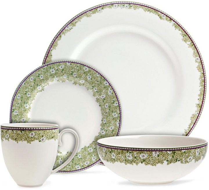 Denby Monsoon Dinnerware Collection by Denby, Daisy Green 4 Piece Place Setting