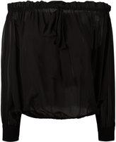 Miu Miu off shoulder pleated blouse - women - Silk - 40