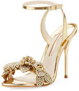 Sophia Webster Lilico Metallic Floral Ankle-Wrap Sandal
