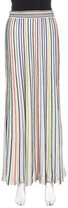 M Missoni White Striped Lurex Knit Pintuck Detail Maxi Skirt S