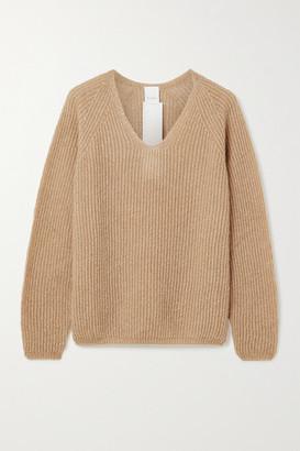 Max Mara Leisure Posato Metallic Ribbed Open-knit Sweater - Camel