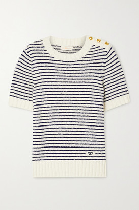 Tory Burch Striped Cotton-boucle Sweater - Ivory