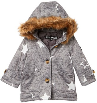 Steve Madden Faux Fur Trim Star Print Faux Wool Coat