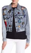 Alice + Olivia Chloe Embroidered Pin Denim Jacket