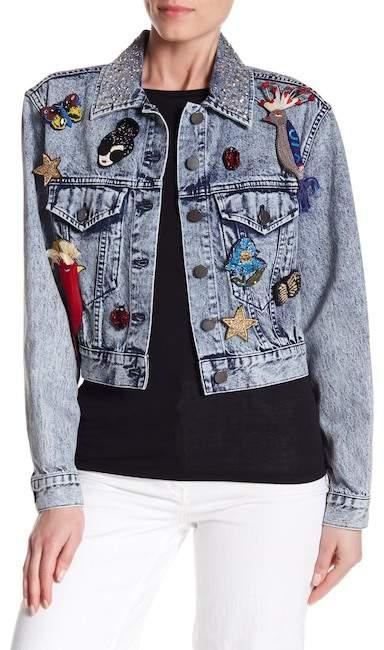 Alice + Olivia Chloe Embroidered Pin Denim Jacket