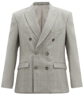 Wardrobe NYC Release 01 Checked Wool Double-breasted Blazer - Grey
