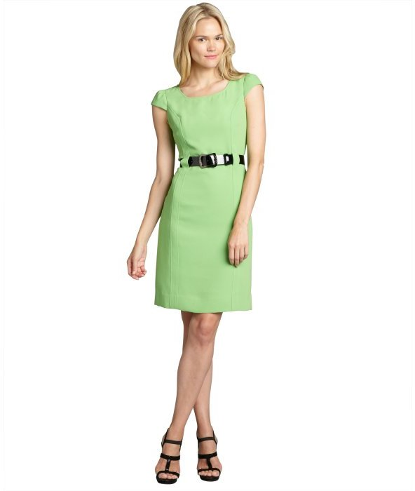 Tahari ASL lime woven cap sleeve patent belted dress