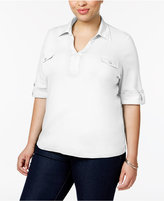 Karen Scott Plus Size Cotton Utility Polo Top, Created for Macy's