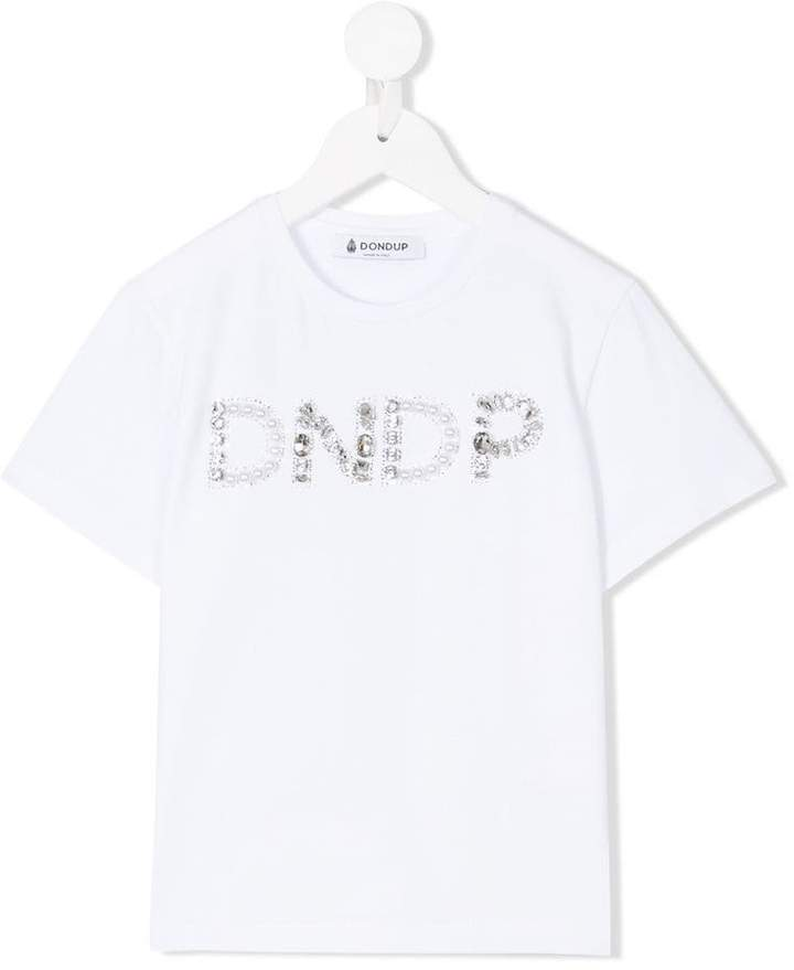 Dondup Kids rhinestone logo T-shirt