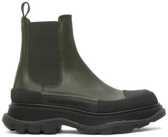 Alexander McQueen Khaki and Black Tread Slick Chelsea Boots