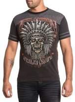 Affliction Men Shirt American Customs Cherokee Chief Skull Feather S/s Crew Neck Tee
