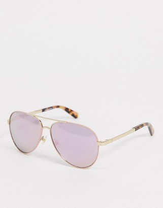 Kate Spade aviator sunglasses with tortoise shell tips