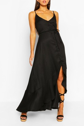boohoo Frill Drop Hem Belted Maxi Dress