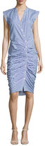 Veronica Beard Sleeveless Ruched Striped Shirtdress, Blue/White