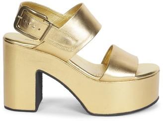 Dries Van Noten Metallic Leather Platform Slingback Sandals