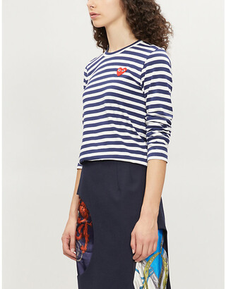 Comme des Garcons Ladies Navy Blue and White Heart-Embroidered Striped Cotton-Jersey Top