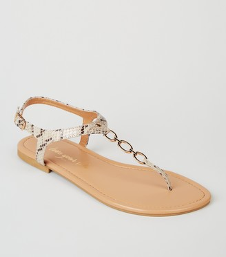 New Look Wide Fit Faux Snake 3 Ring Sandals