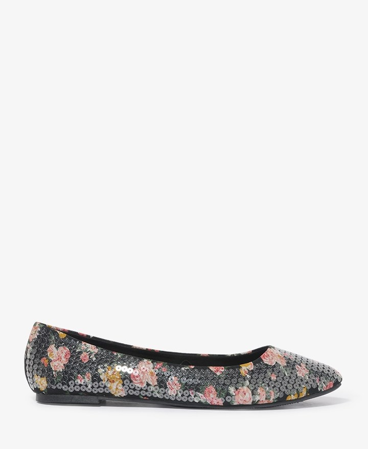 Forever 21 Sequined Floral Flats