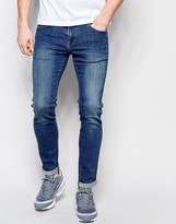 Dr. Denim Jeans Snap Skinny Fit Mid Stone Wash