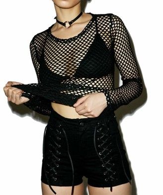 Snaked Cat Women Sexy Mesh Tops Bikini Cover Up Fishnet Blouse Round Neck Long Sleeve Casual Summer Blouse (Black M)