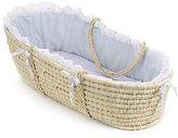 Badger Basket Natural Moses Basket with Blue Gingham Bedding