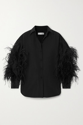 Valentino Feather-trimmed Cotton-blend Poplin Blouse - Black