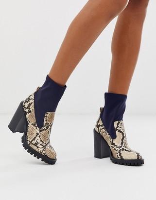 Asos Design DESIGN Evolve chunky sock boots in snake mix