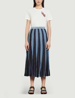 Sandro Damon striped pleated lurex midi skirt