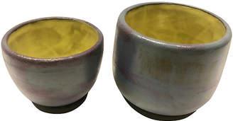 One Kings Lane Vintage Purple & Yellow Potteries - Set of 2 - nihil novi