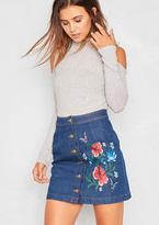 Missy Empire Kai Denim Floral Embroidered Button Up Mini Skirt