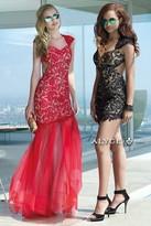 Alyce Paris - Trendy Queen Anne Lace Convertible Dress with Detachable Tulle Train 2442