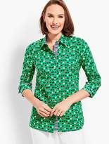 Talbots Classic Button Front Shirt - Ladybug Hearts