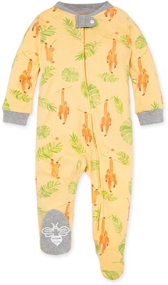 Burt's Bees Monkey See Monkey Do Organic Baby Zip Front Loose Fit Footed Pajamas