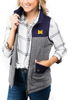 Women's Navy Michigan Wolverines Prep For It Herringbone Knit Full-Zip Vest