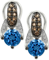 LeVian Le Vian Chocolatier® Blue Topaz (2 ct. t.w.) and Diamond (3/10 ct. t.w.) Drop Earrings in 14k White Gold