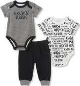 Calvin Klein Baby Boys' 3 Pieces Bodysuit Pant Set, Black/White, 18M