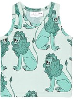 Mini Rodini Lion Tank Top In Light Green