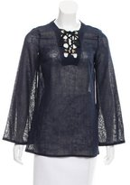Michael Kors Semi-Sheer Lace-Up Tunic