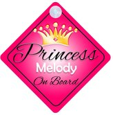 mybabyonboard UK Princess Melody On Board Personalised Girl Car Sign Baby / Child Gift 001